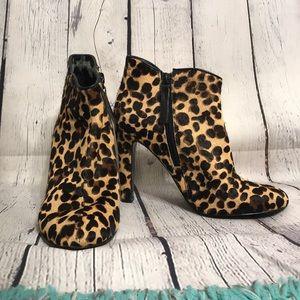 Nine West leopard calf hair heeled ankle booties